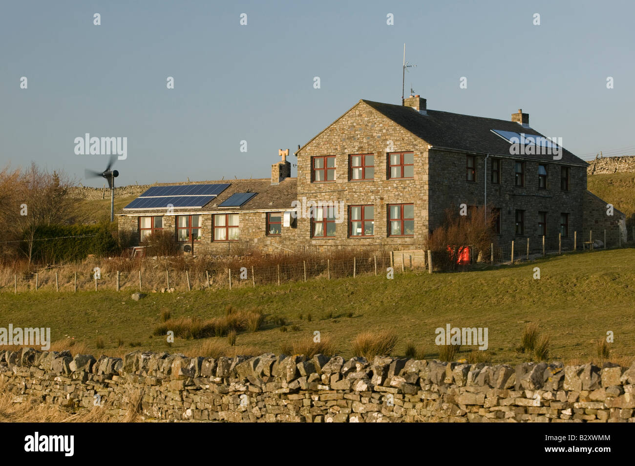 A Proven micro wind turbine installed at Langdon Beck Youth Hostal, Co. Durham - Stock Image