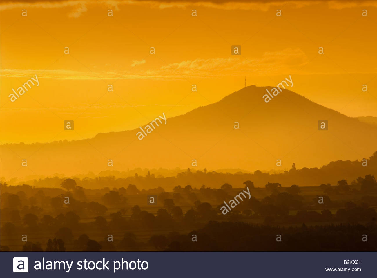 The Wrekin, at sunrise, Shropshire, England, UK. Stock Photo