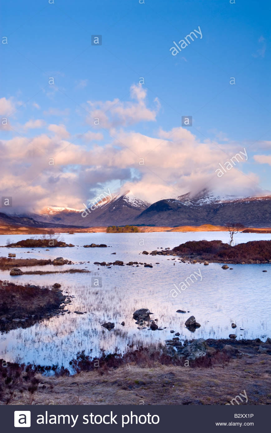 Clearing storm over Lochan na h'Achlaise and the Black Mount, Rannoch Moor, Scottish Highlands, UK Stock Photo