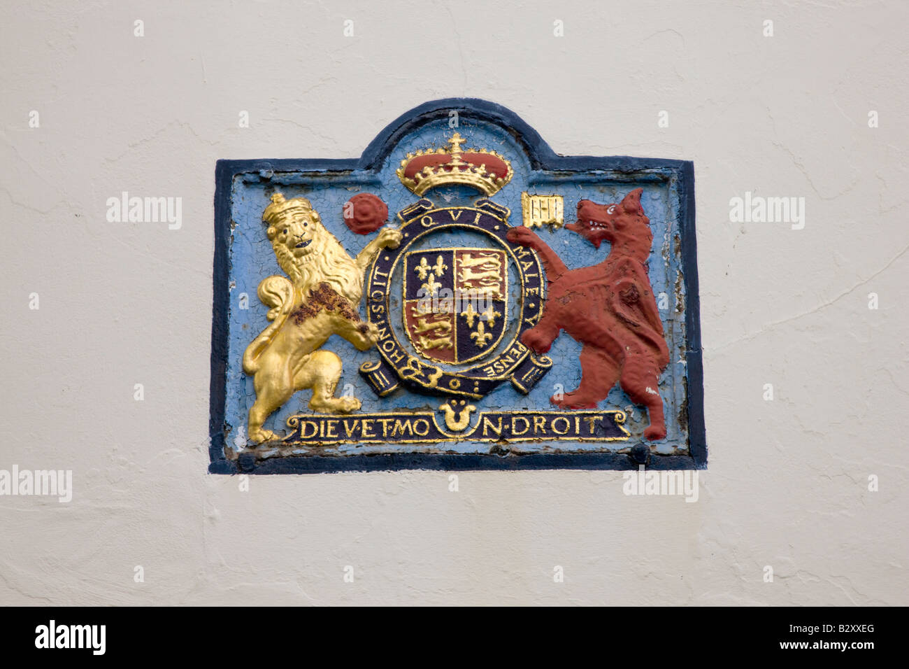 Royal coat of arms in Sandwich Kent - Stock Image