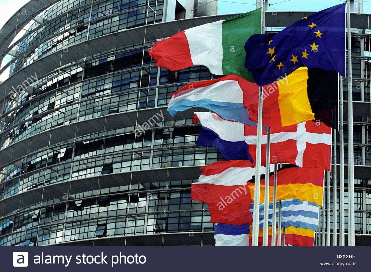 France, Strasbourg, European Parliament Building European flags in  the forefront Stock Photo