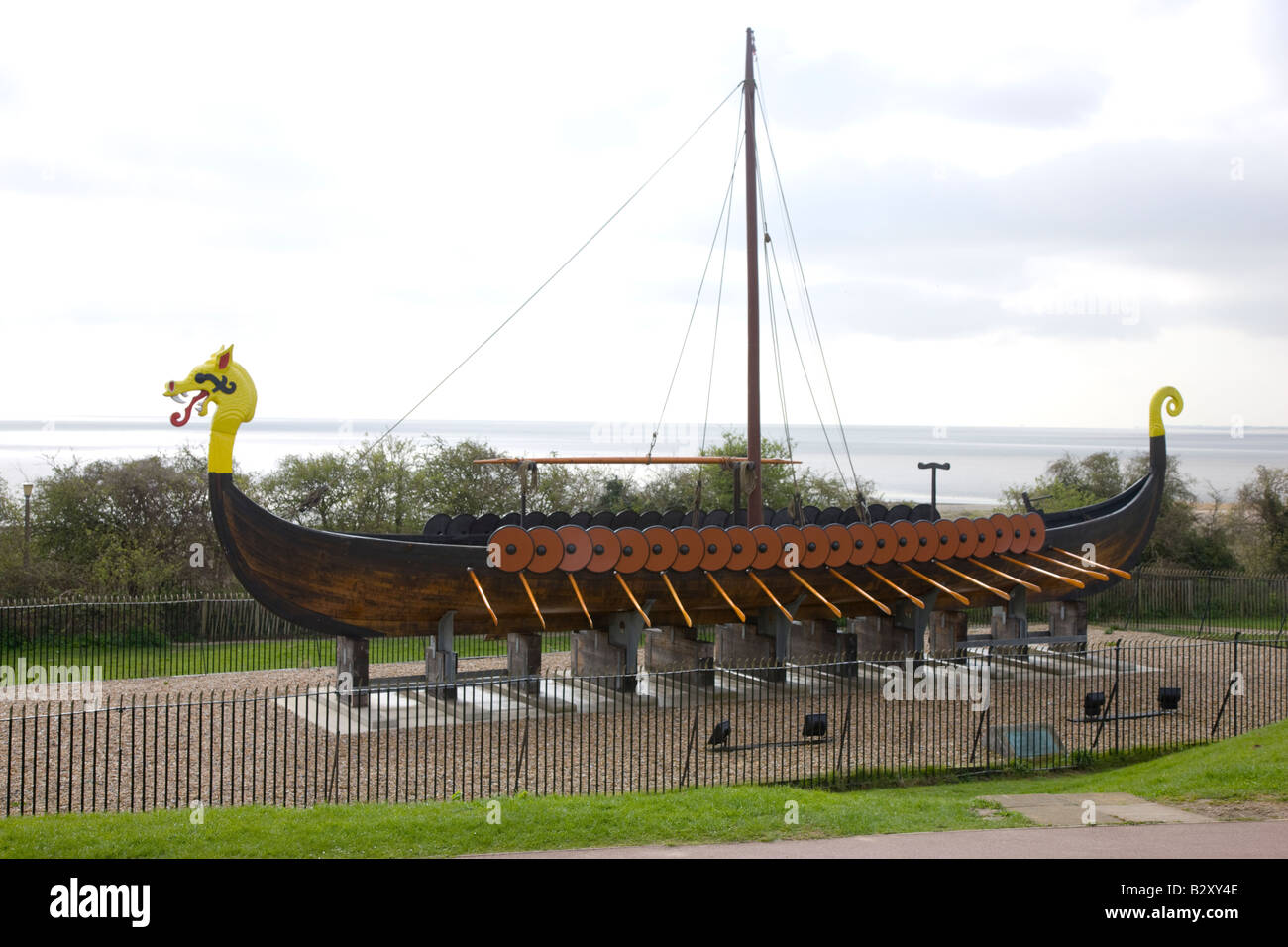 Viking ship marking the traditional landing place of the Saxons in Pegwell BayAD 449 - Stock Image