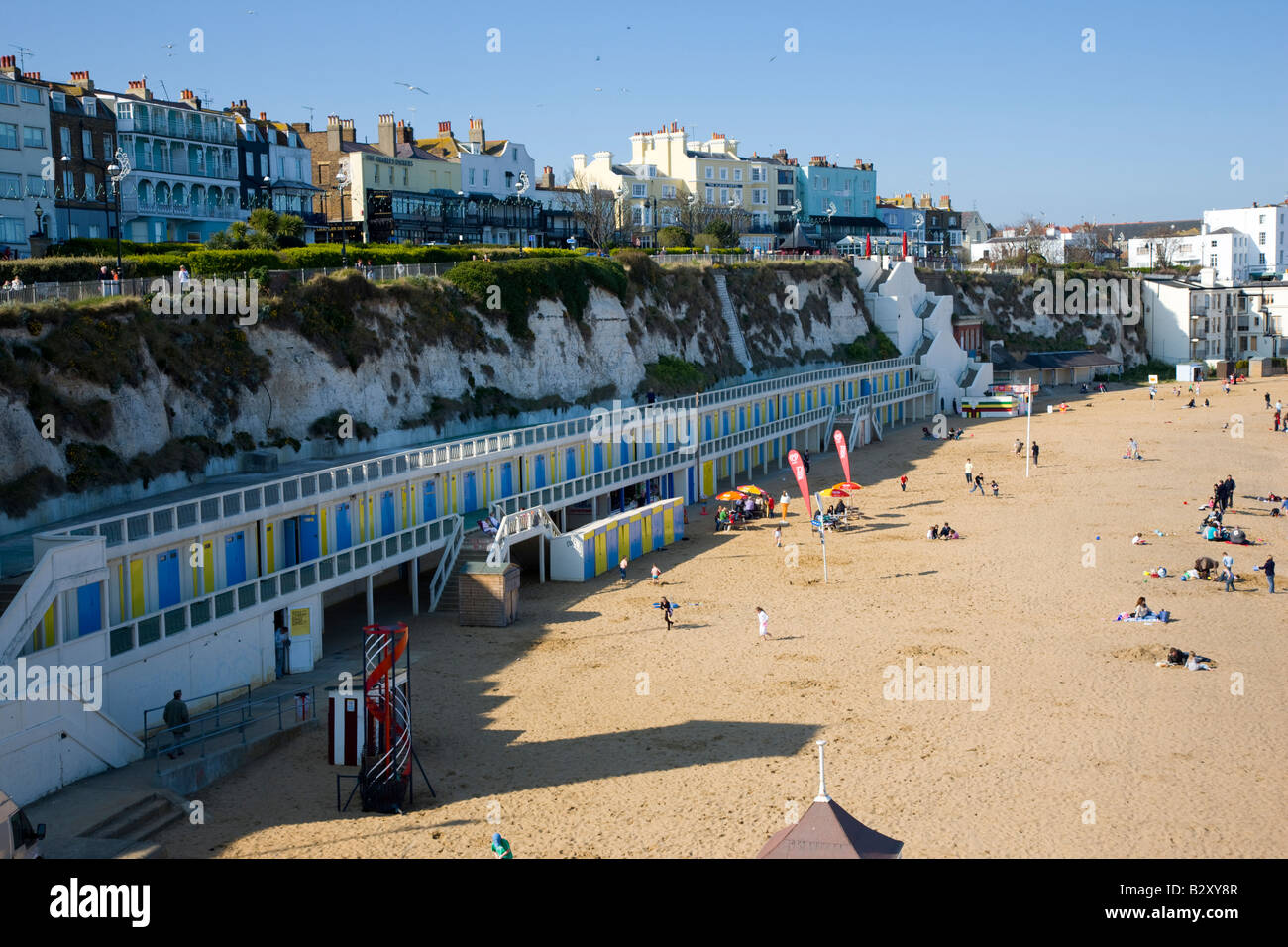The beach and harbour at Broadstairs in Kent - Stock Image