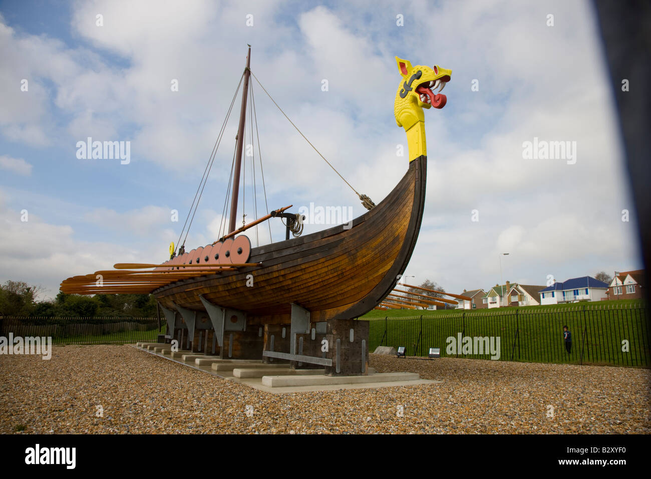 Viking ship marking the traditional landing place of the Saxons in Pegwell Bay AD 449 - Stock Image