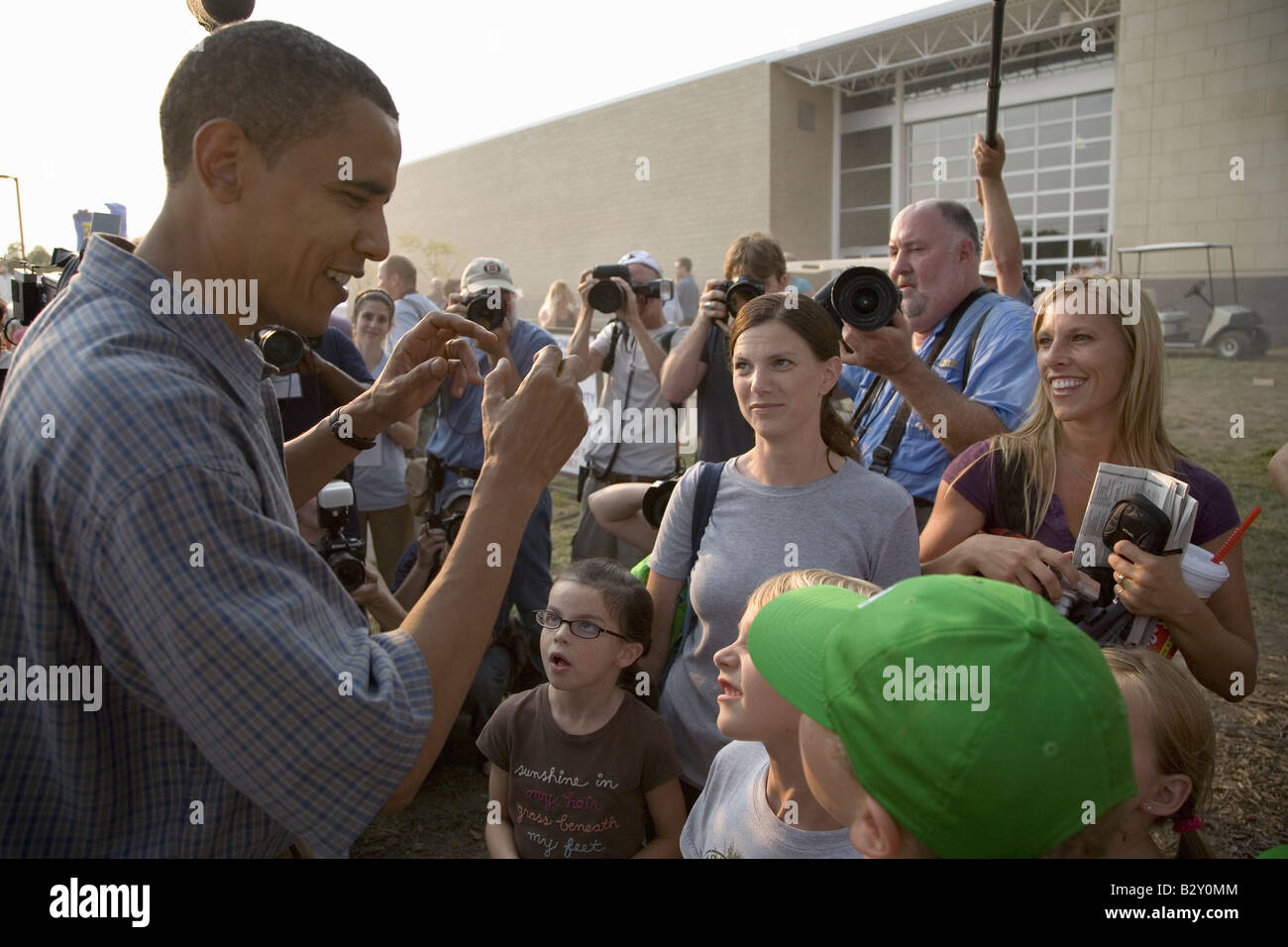U.S. Senator Barak Obama campaigning for President at Iowa State Fair in Des Moines Iowa - Stock Image