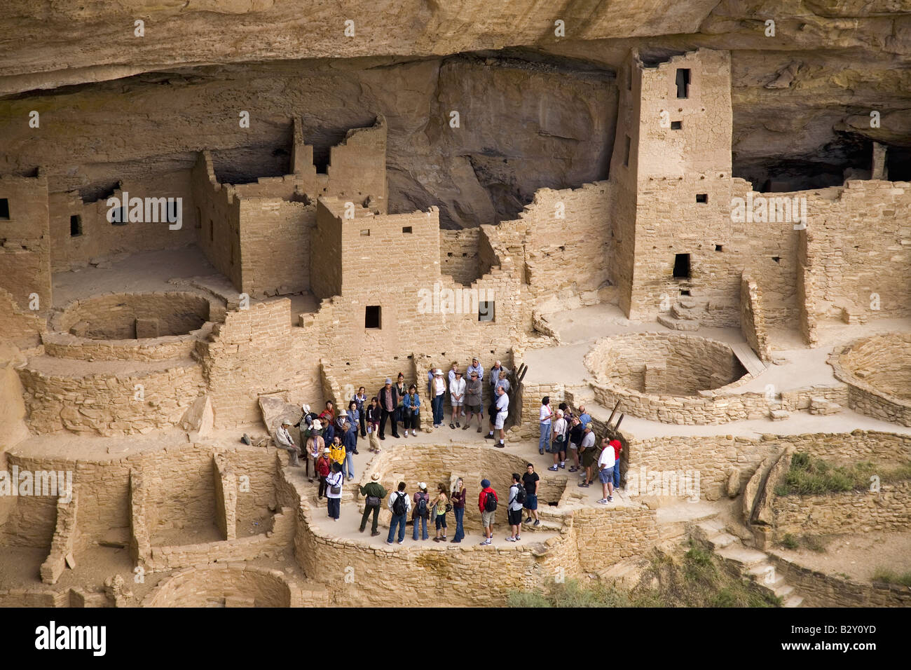 af61f3b1 Tourists viewing kiva at Cliff Palace cliff dwelling Indian ruin, Mesa  Verde National Park, Colorado