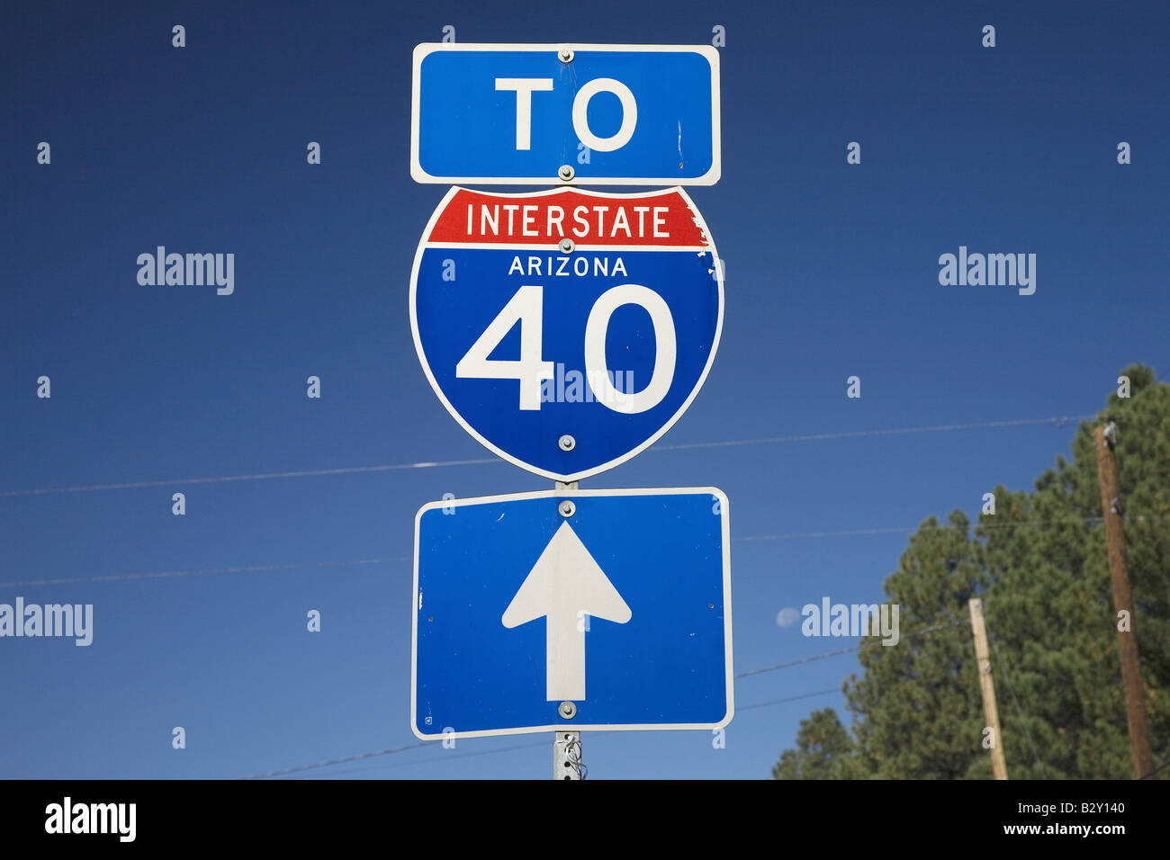 Road sign for Interstate 40 in Arizona - Stock Image