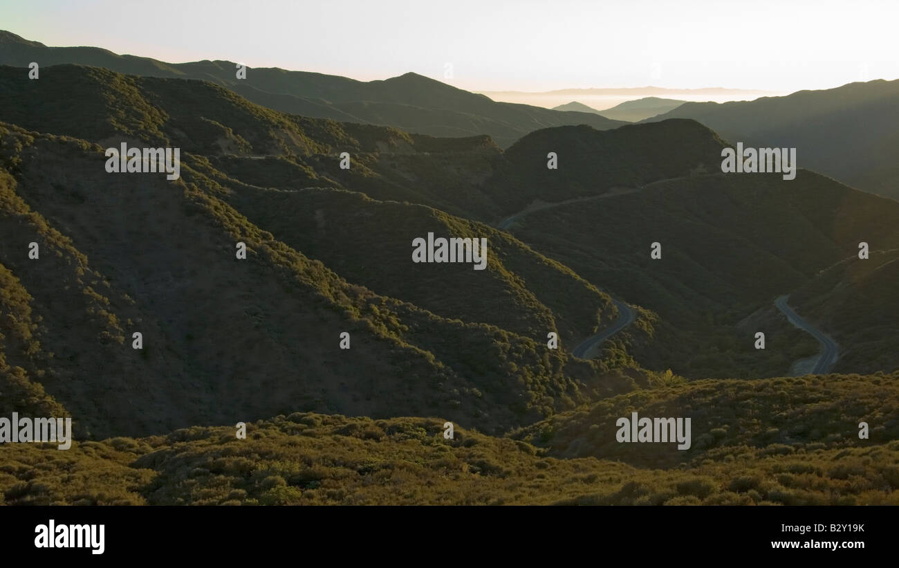 Las Padres National Forest, Southern California near Ojai at sunset - Stock Image