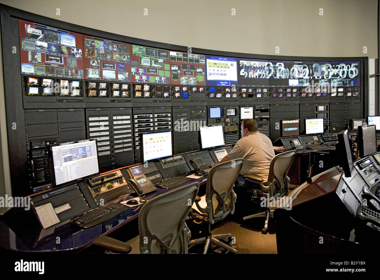 State of the art digital control room with HD monitors displaying worldwide news from Newseum Museum, Washington, - Stock Image