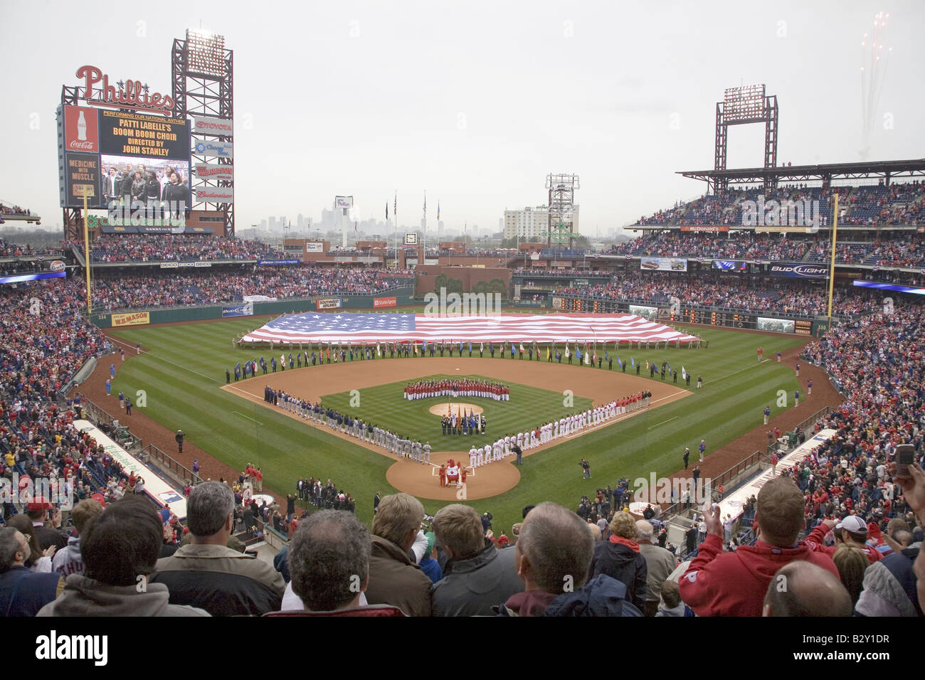 Opening Day Ceremonies featuring gigantic American Flag in Centerfield on March 31, 2008, Citizen Bank Park - Stock Image