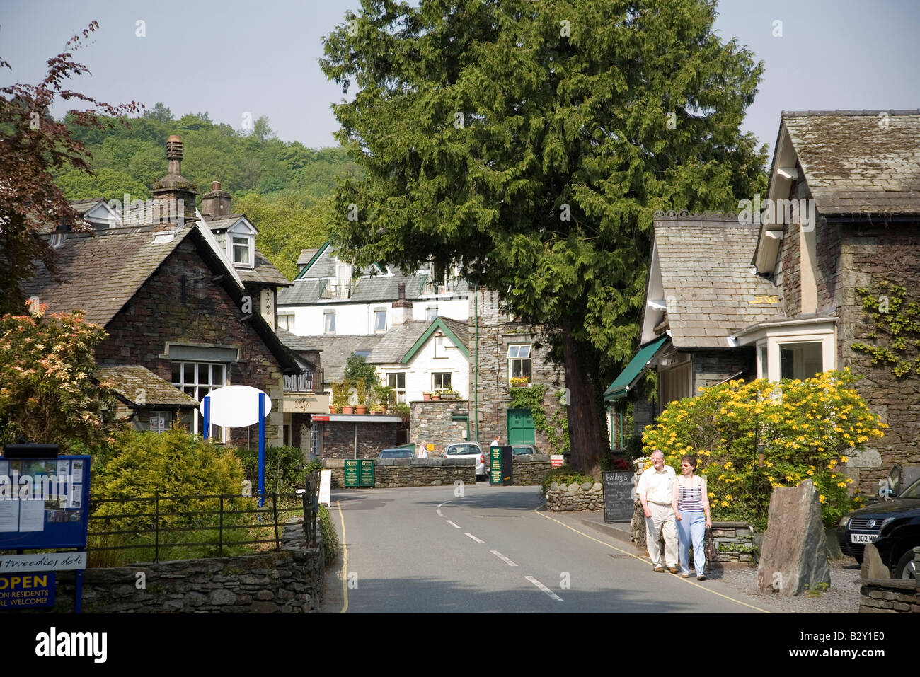 Grasmere Village Lake District National Park Cumbria England - Stock Image