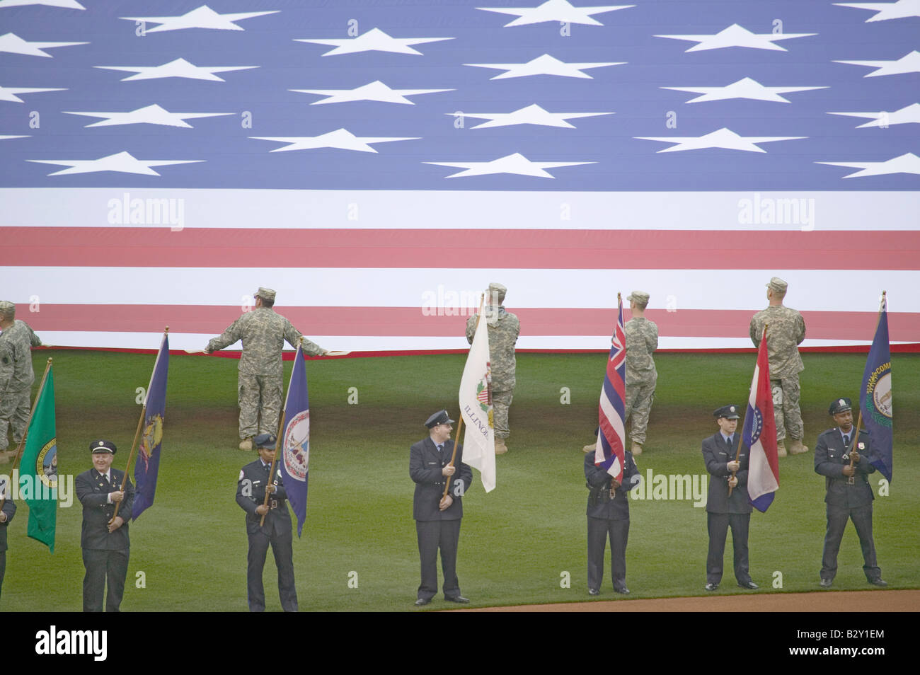Opening Day Ceremonies featuring gigantic American Flag, Philadelphia PA - Stock Image