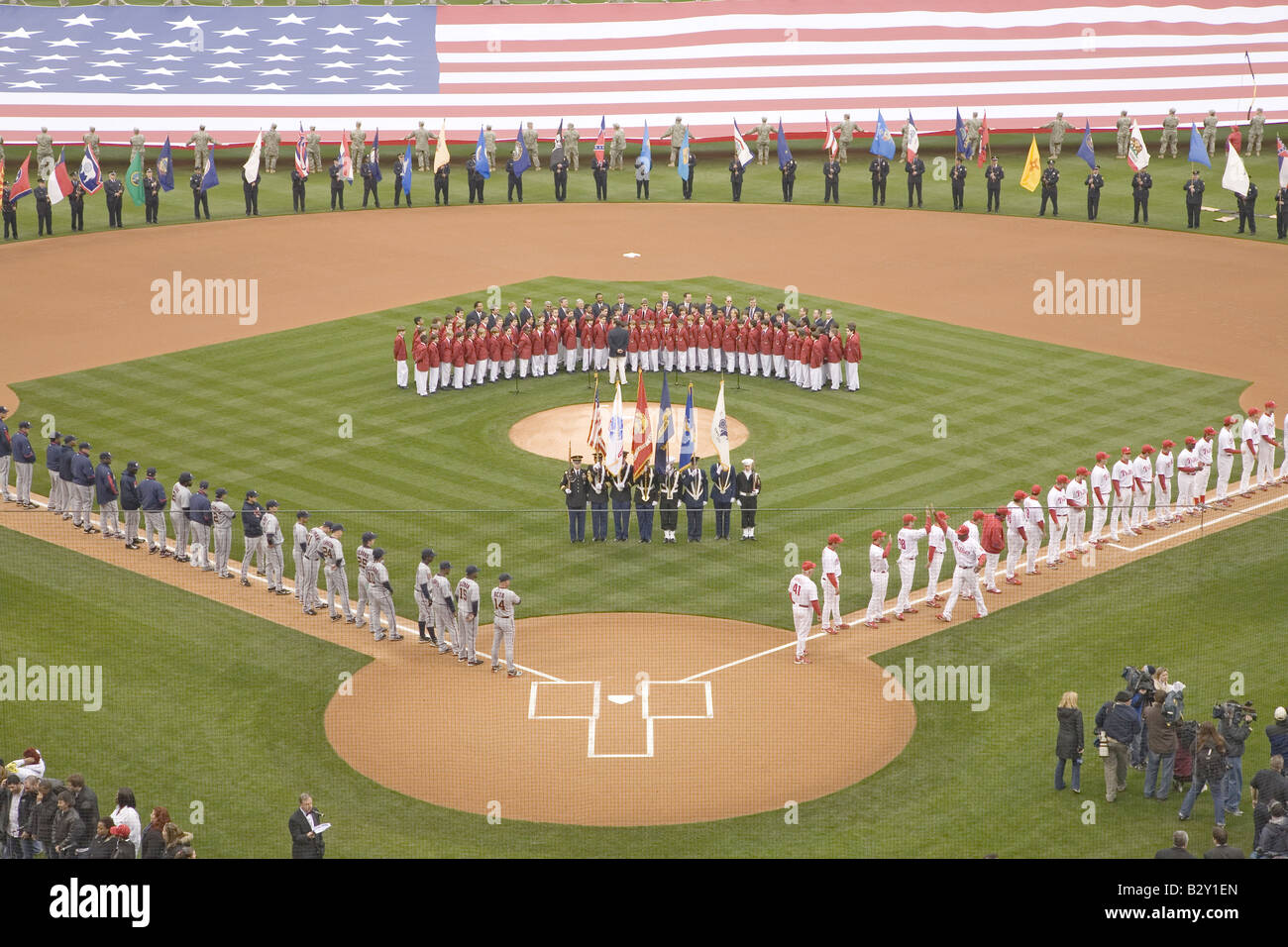 Opening Day Ceremonies featuring military color guard, boys choir, Philadelphia PA - Stock Image