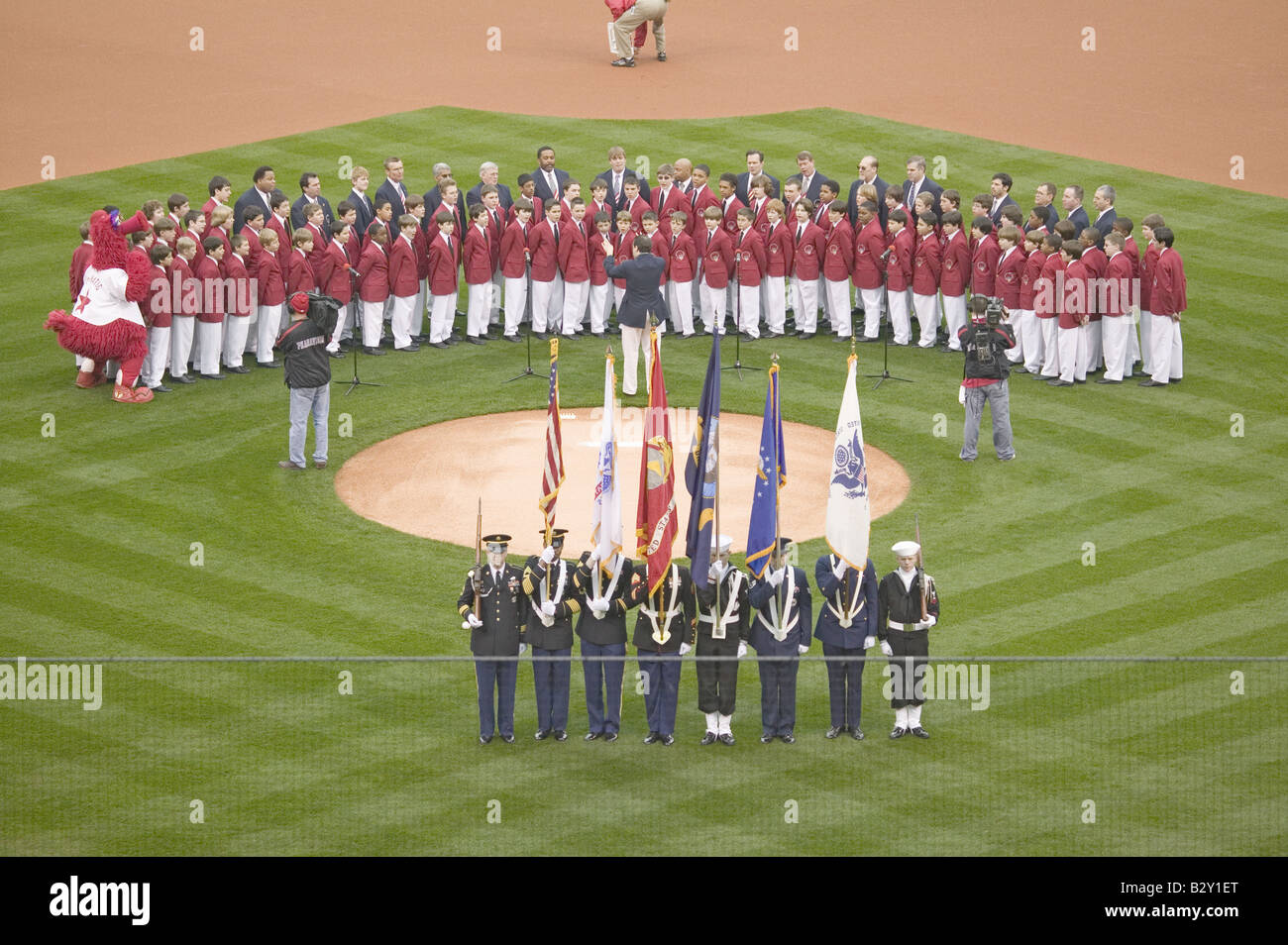 Opening Day Ceremonies featuring military color guard and boys choir, Philadelphia PA - Stock Image