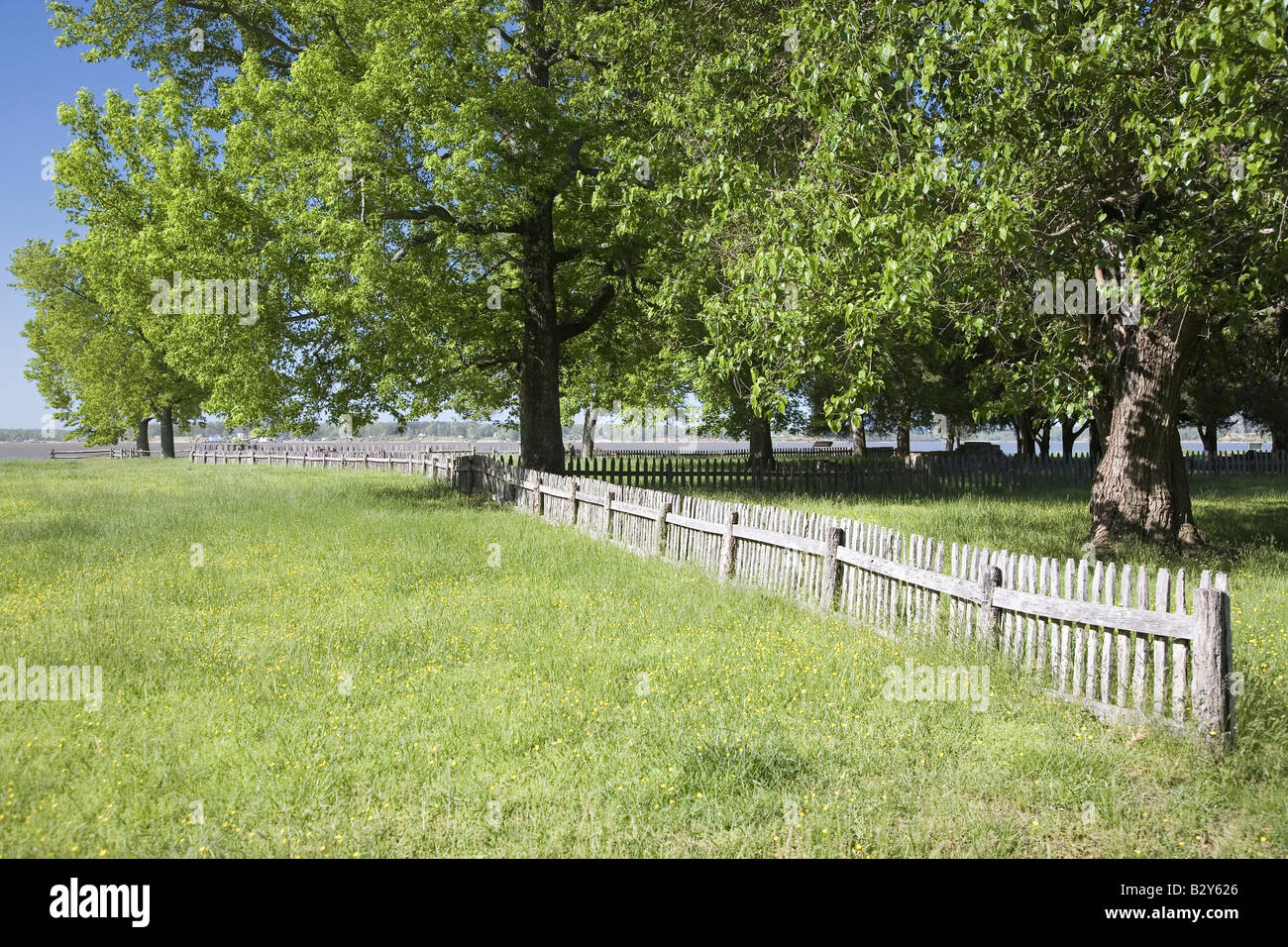 """Early house foundations from the """"New Towne"""" site of Jamestown, Jamestown Island, America's Birthplace, Virginia Stock Photo"""