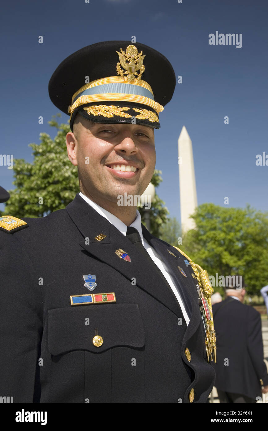 Military officer in full dress uniform posing in front of National World War II Memorial Washington, DC - Stock Image