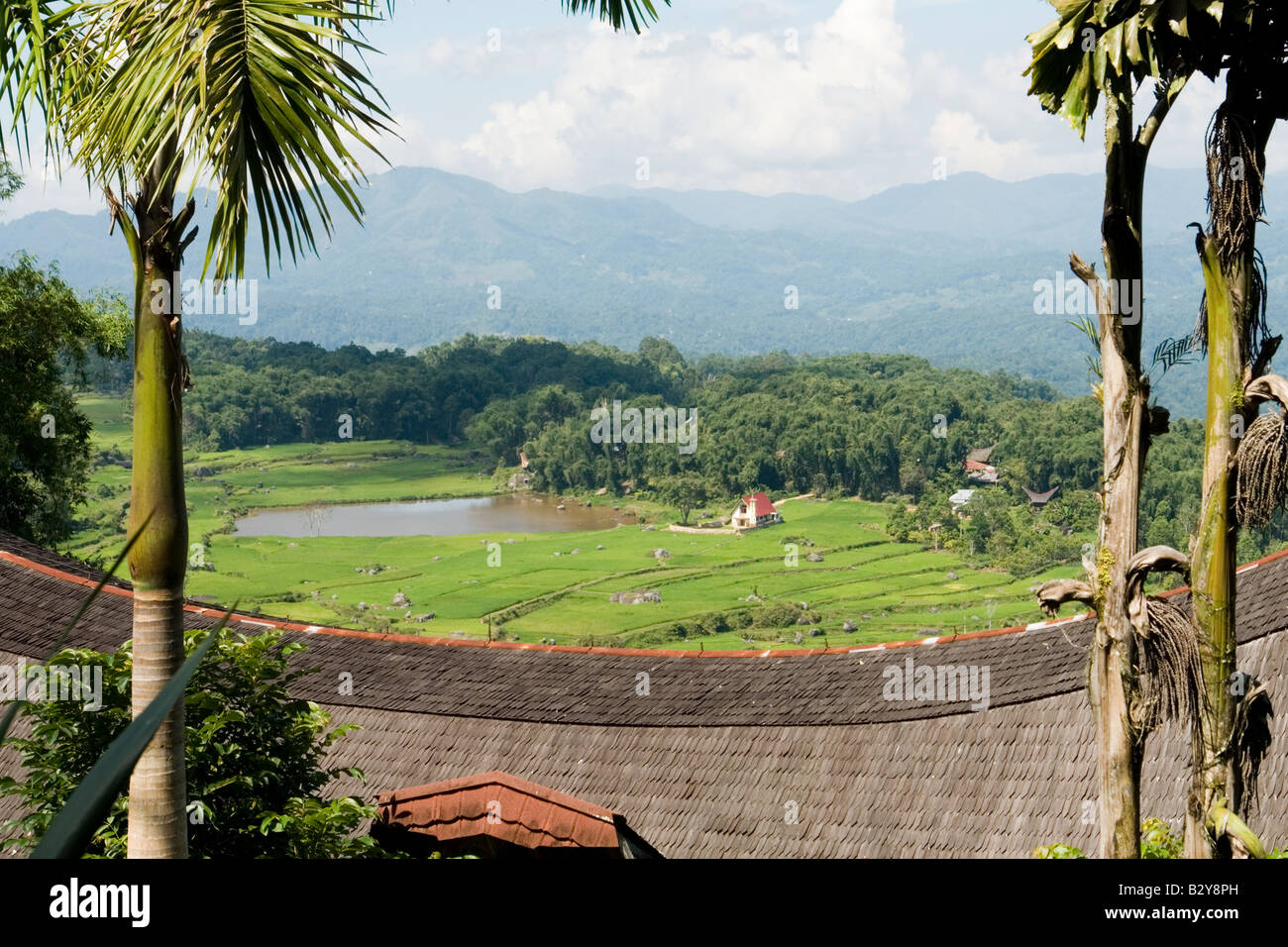 A wonderful panoramic view from the vantage of Batutumonga.Sulawesi-Indonesia. Une vue magnifique des environs de - Stock Image