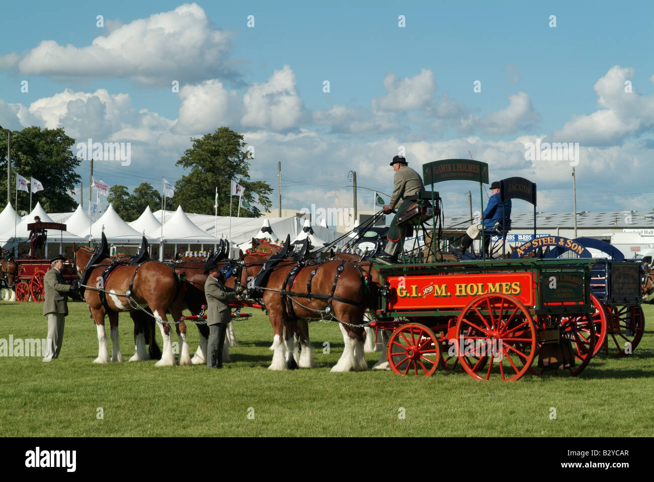 Heavy horse turnout (fours) at the 2008 Royal Highland Show, Ingliston, Edinburgh. - Stock Image