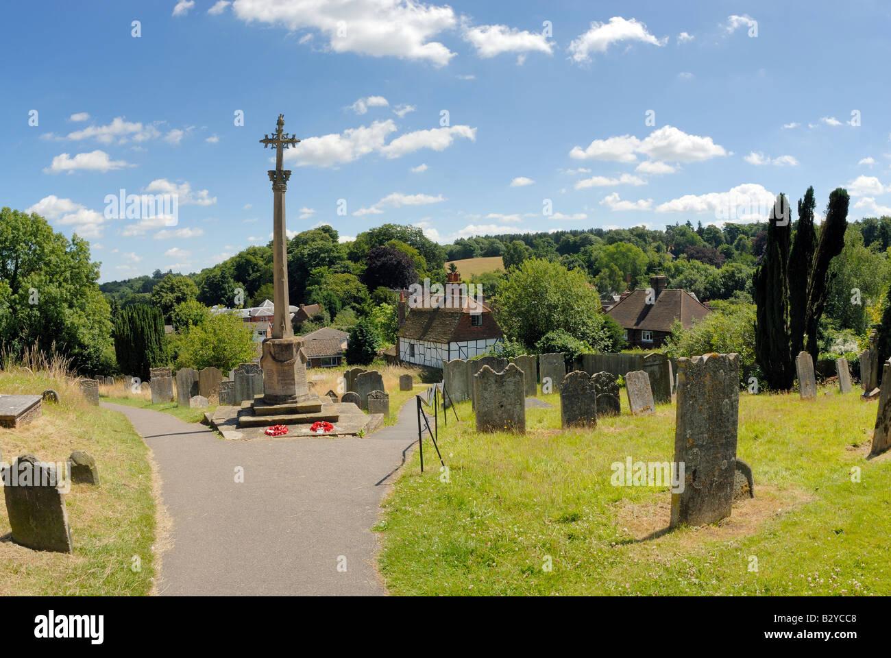 Westerham Cross and  Churchyard, Westerham, Kent - Stock Image