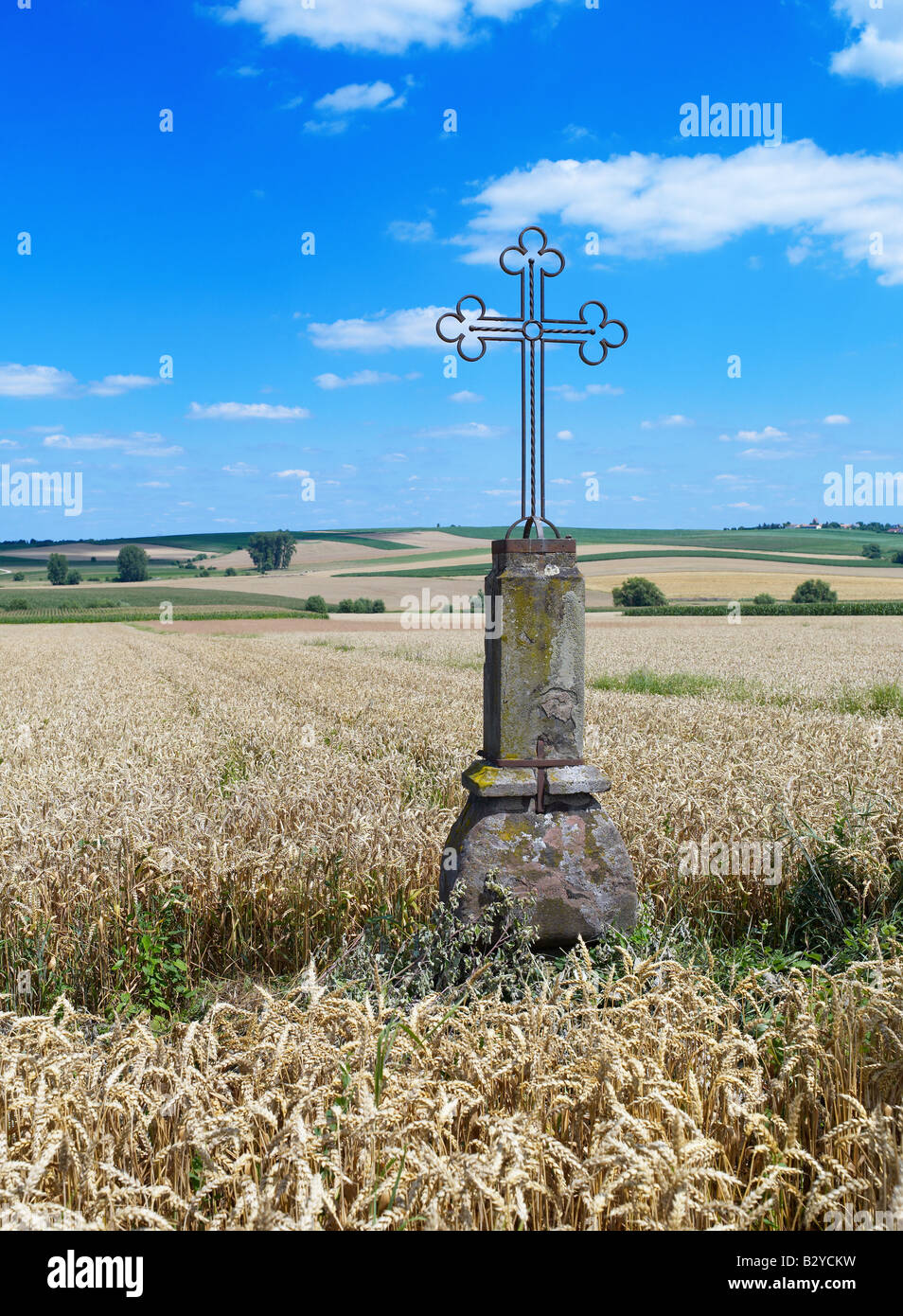 WROUGHT IRON CROSS IN WHEAT FIELD ALSACE FRANCE - Stock Image