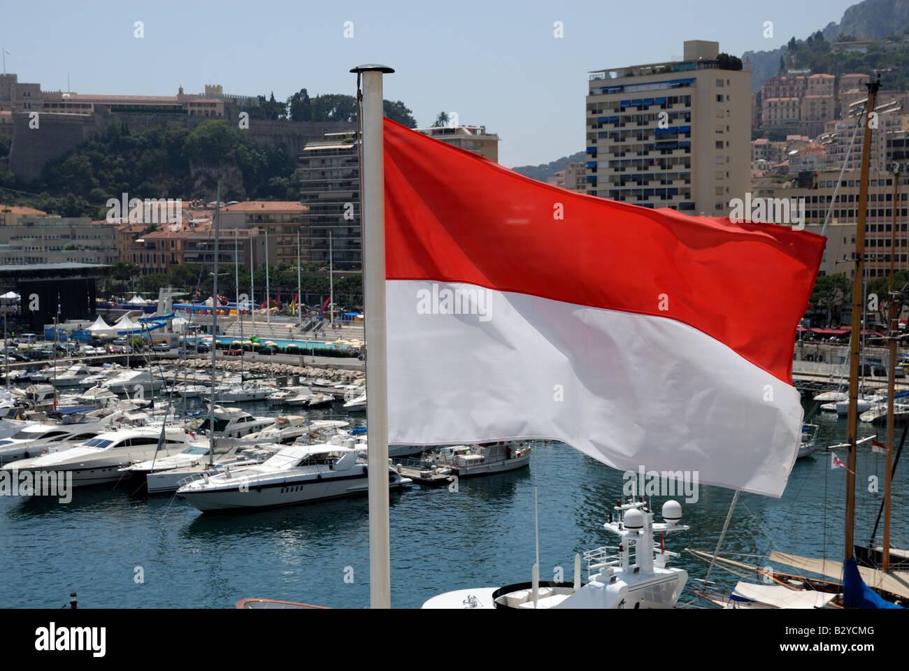 National flag of of the Principality of Monaco - Stock Image