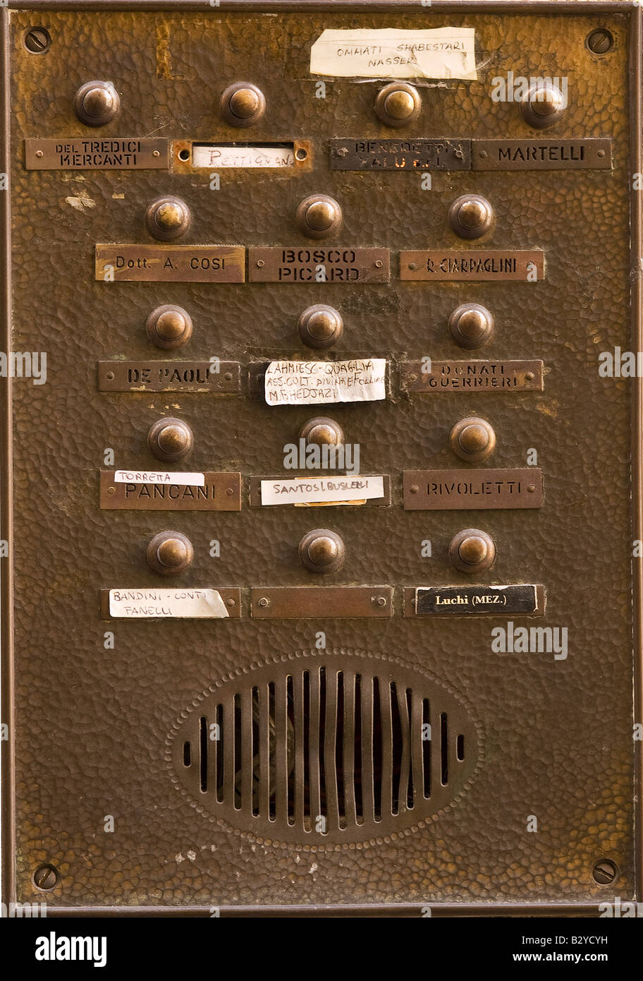 Intercom at the entrance to an appartment block, Florence, Tuscany - Stock Image