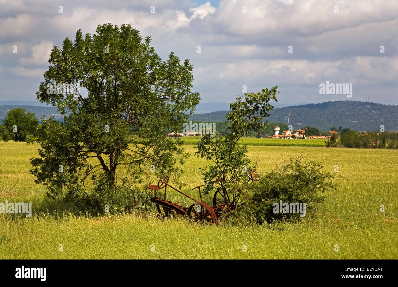 Old Farm Machinery near The  Canal du Midi, Le Somail, Languedoc-Roussillon, France - Stock Image