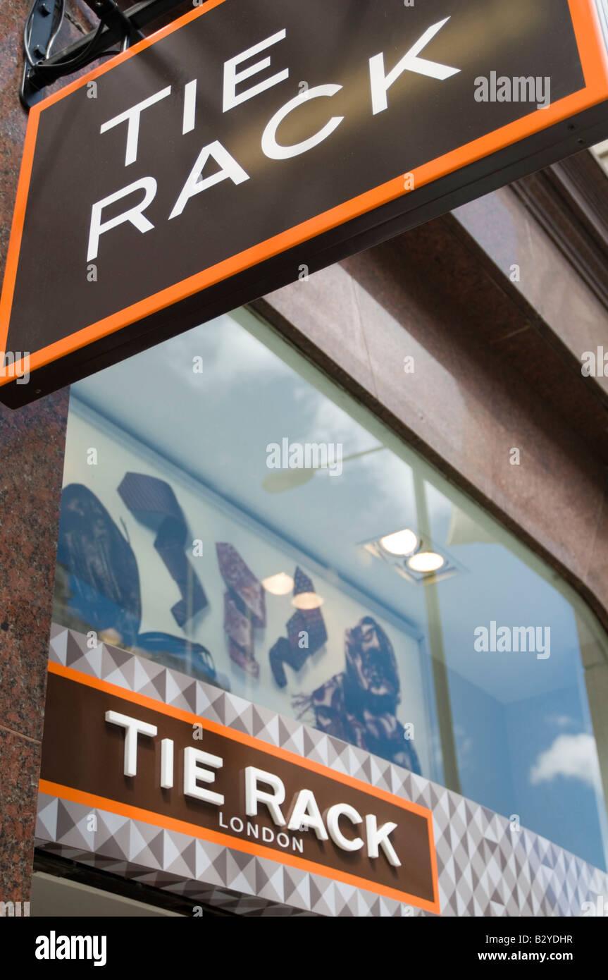 tie rack specialist clothes shop accessory neck - Stock Image