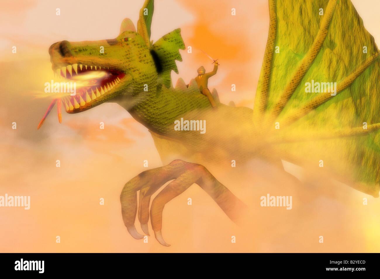 Businessman knight riding a dragon. - Stock Image