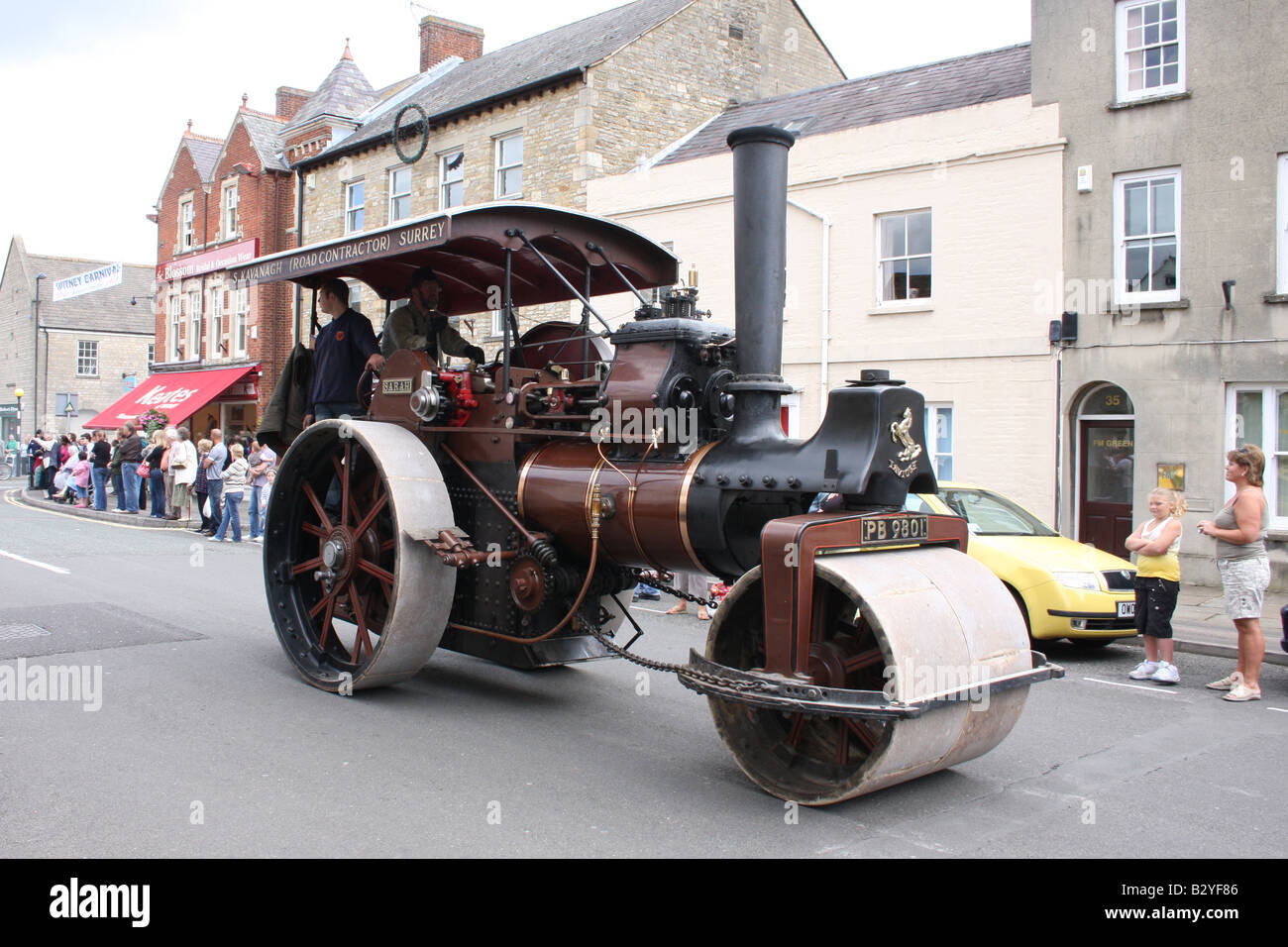 An old road building steam traction engine at Witney carnival in Oxfordshire UK. - Stock Image