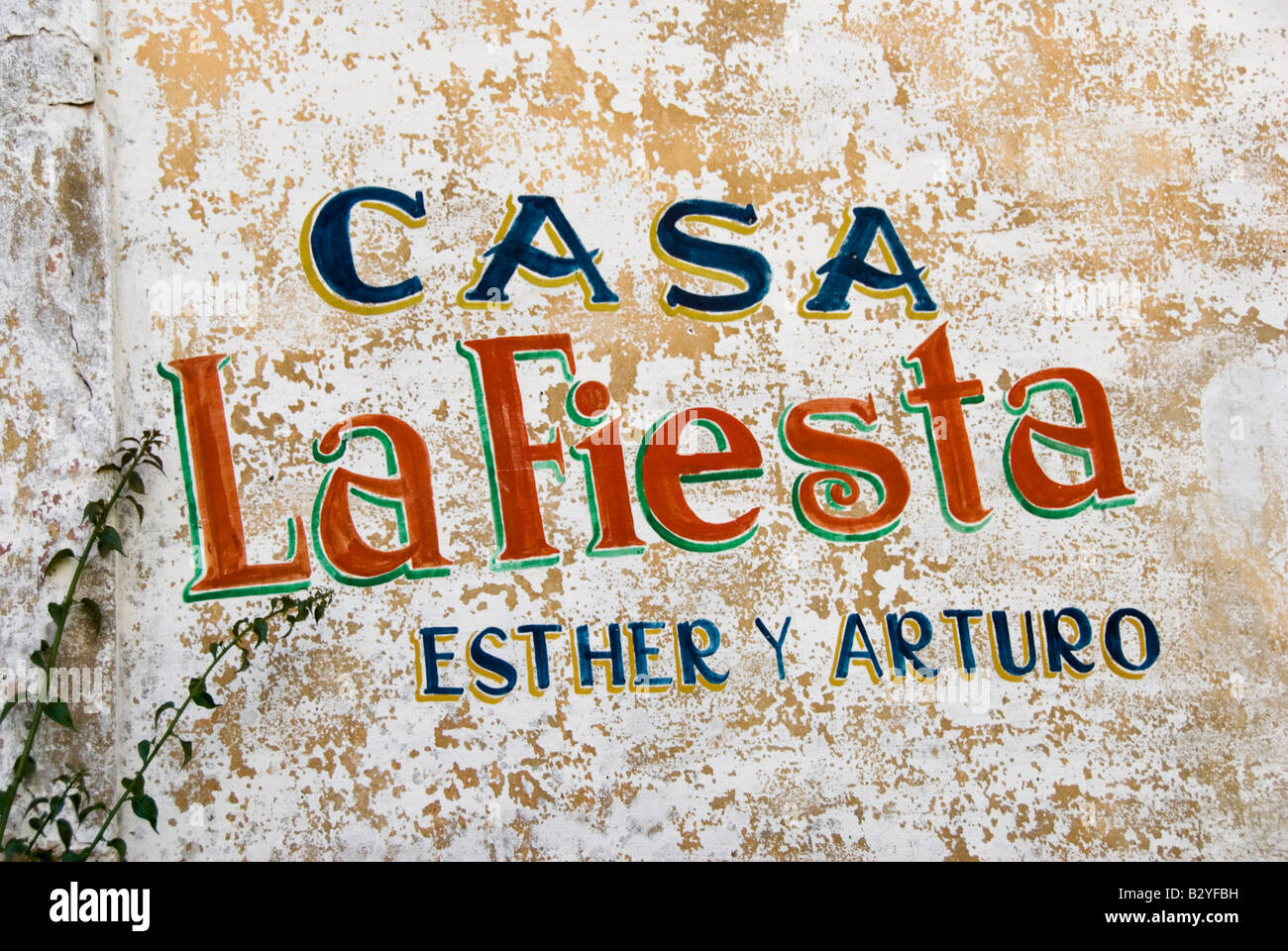Old painted mural sign on private homestay or Casa Particular in Vi ales Cuba - Stock Image