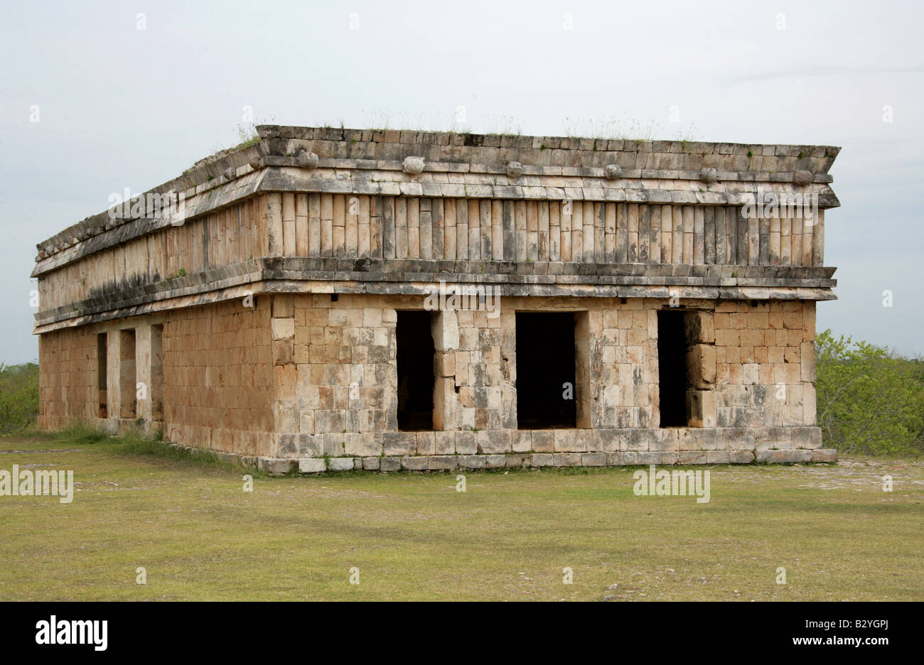 House of the Turtles, Uxmal Archaeological Site, Uxmal, Yucatan State, Mexico Stock Photo