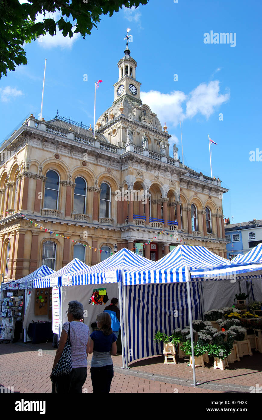 Outdoor market, The Cornhill, Ipswich, Suffolk, England, United Kingdom - Stock Image