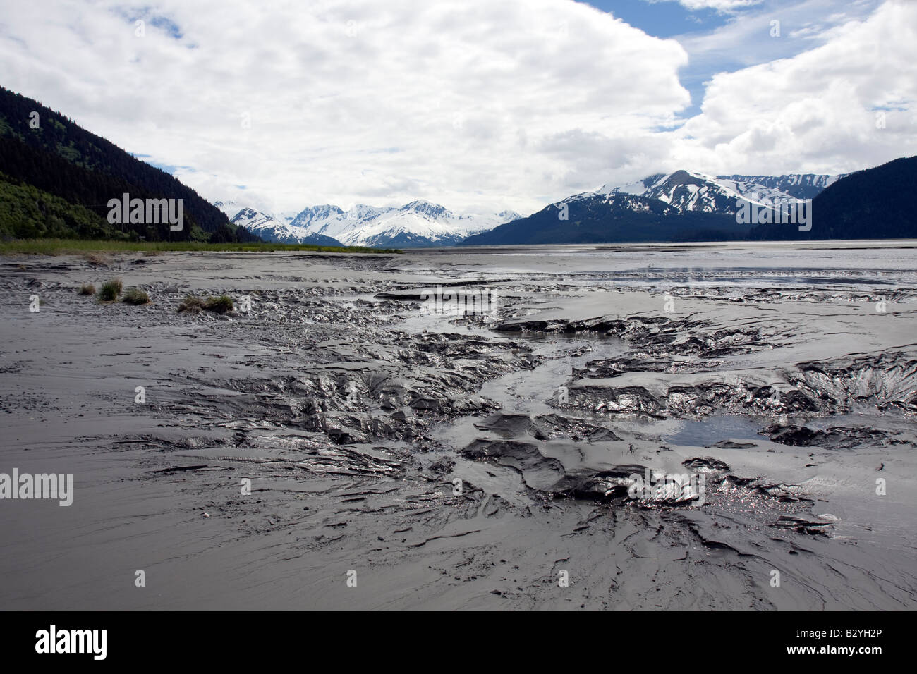 Mudflats in Cooks Inlet, Turnagain arm, Alaska Stock Photo