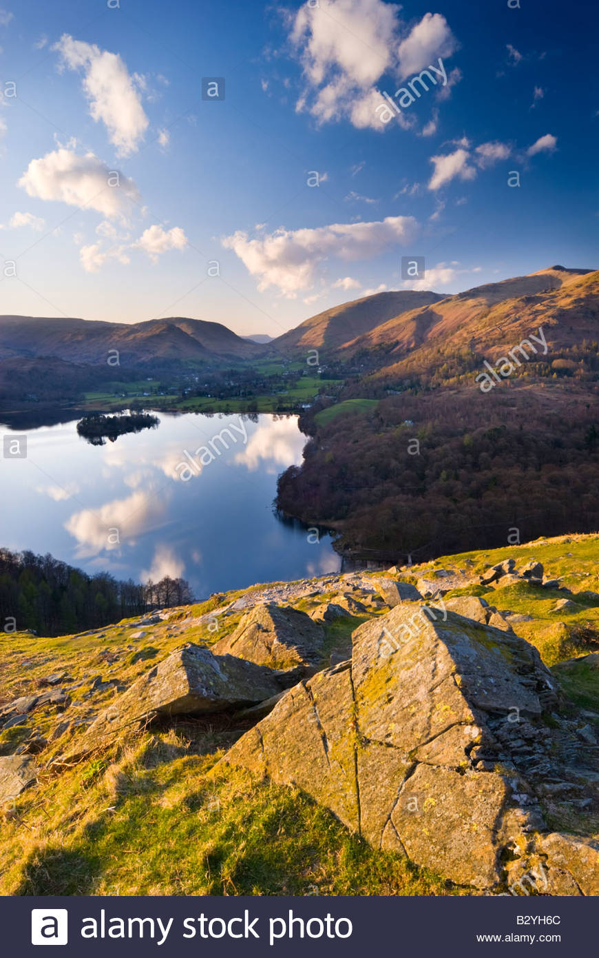 Grasmere from Loughrigg Fell, Lake District National Park, Cumbria, England. - Stock Image