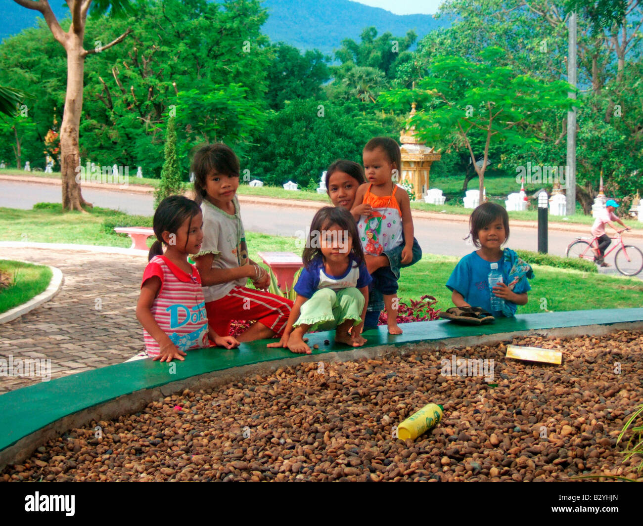 Group of young girls in Pakse Laos JPH0045 - Stock Image