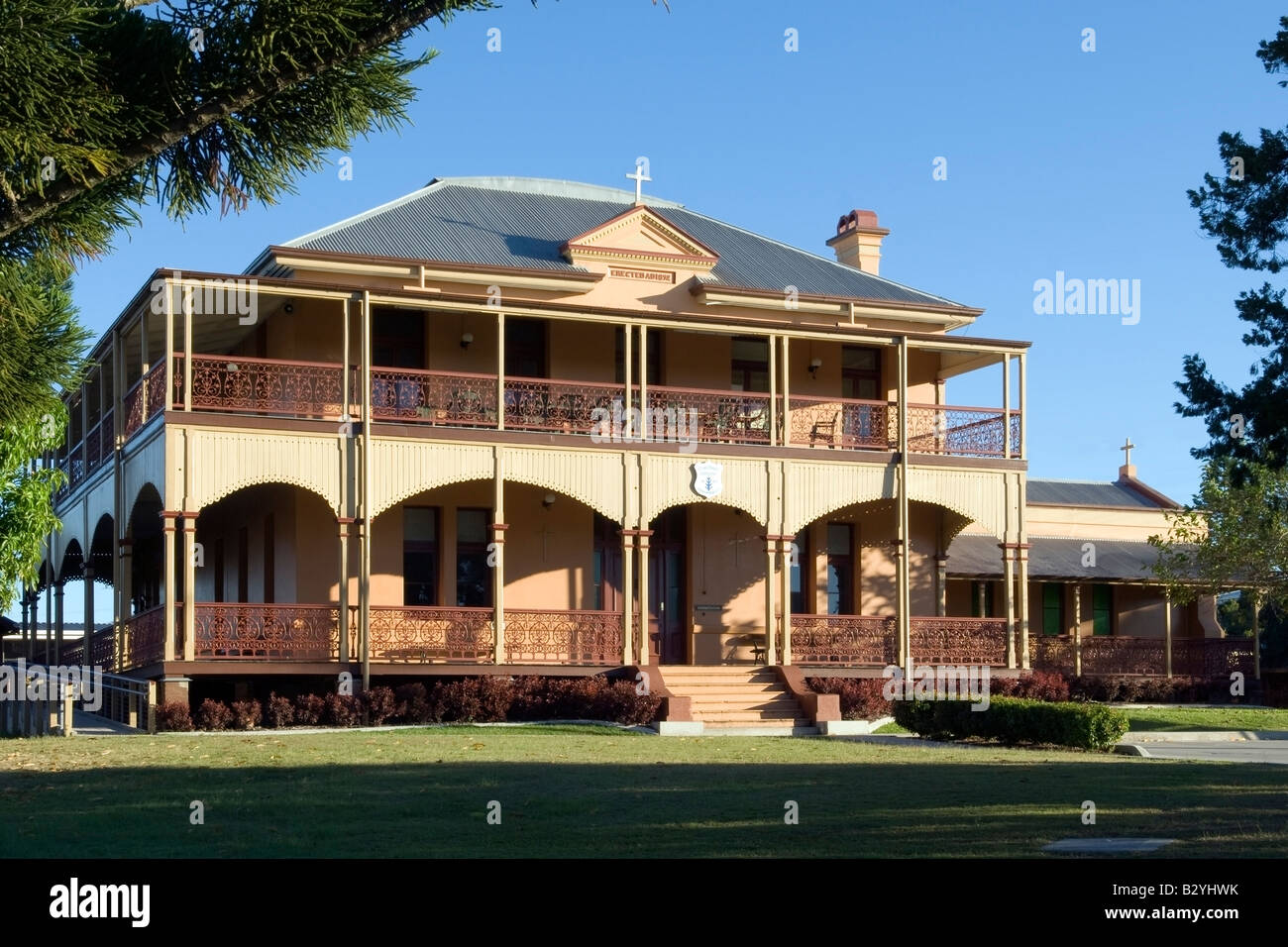 Imposing entrance to St Michael's Convent, Maryborough, Queensland - Stock Image