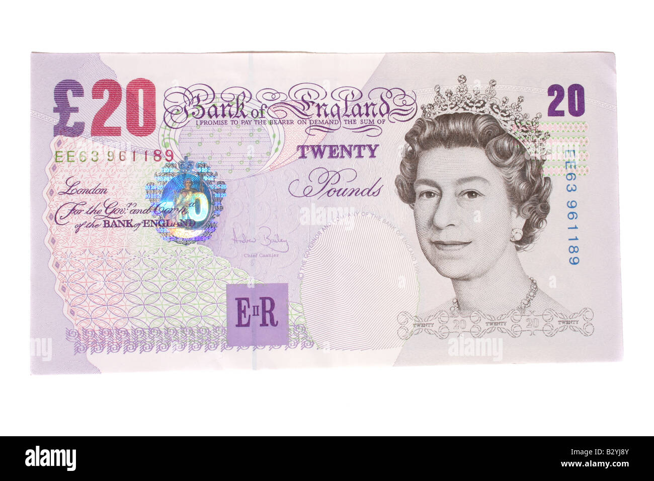 The front of a twenty pound English bank note. - Stock Image