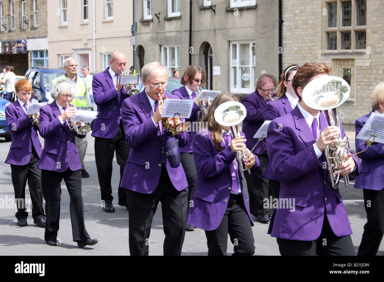 A brass band plays at Witney carnival Oxfordshire UK. - Stock Image