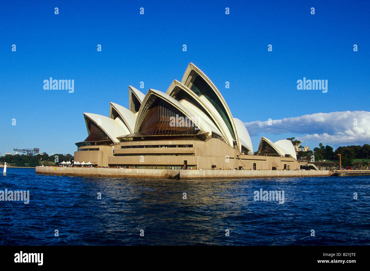 Sydney Opera House designed by JÃ rn Utzon - Stock Image