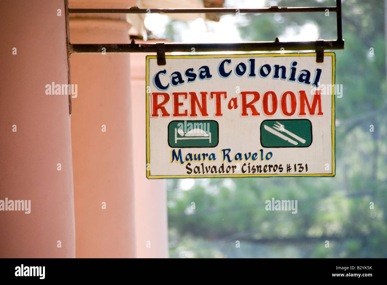 Sign on private homestay or Casa Particular along Calle Salvador Cisneros in Viñales Cuba - Stock Image