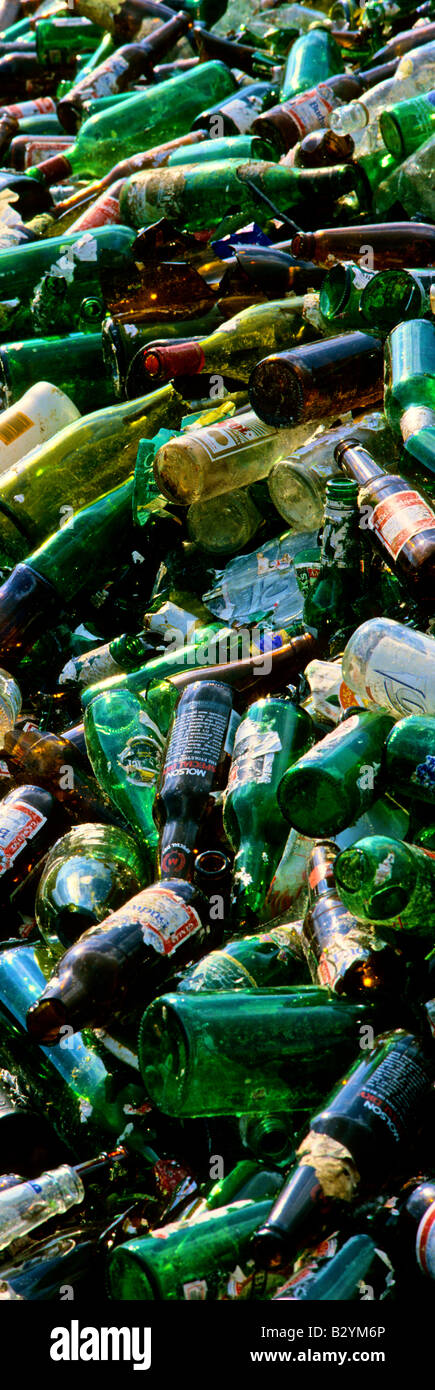 Glass bottles in a glass recycling centre - Stock Image