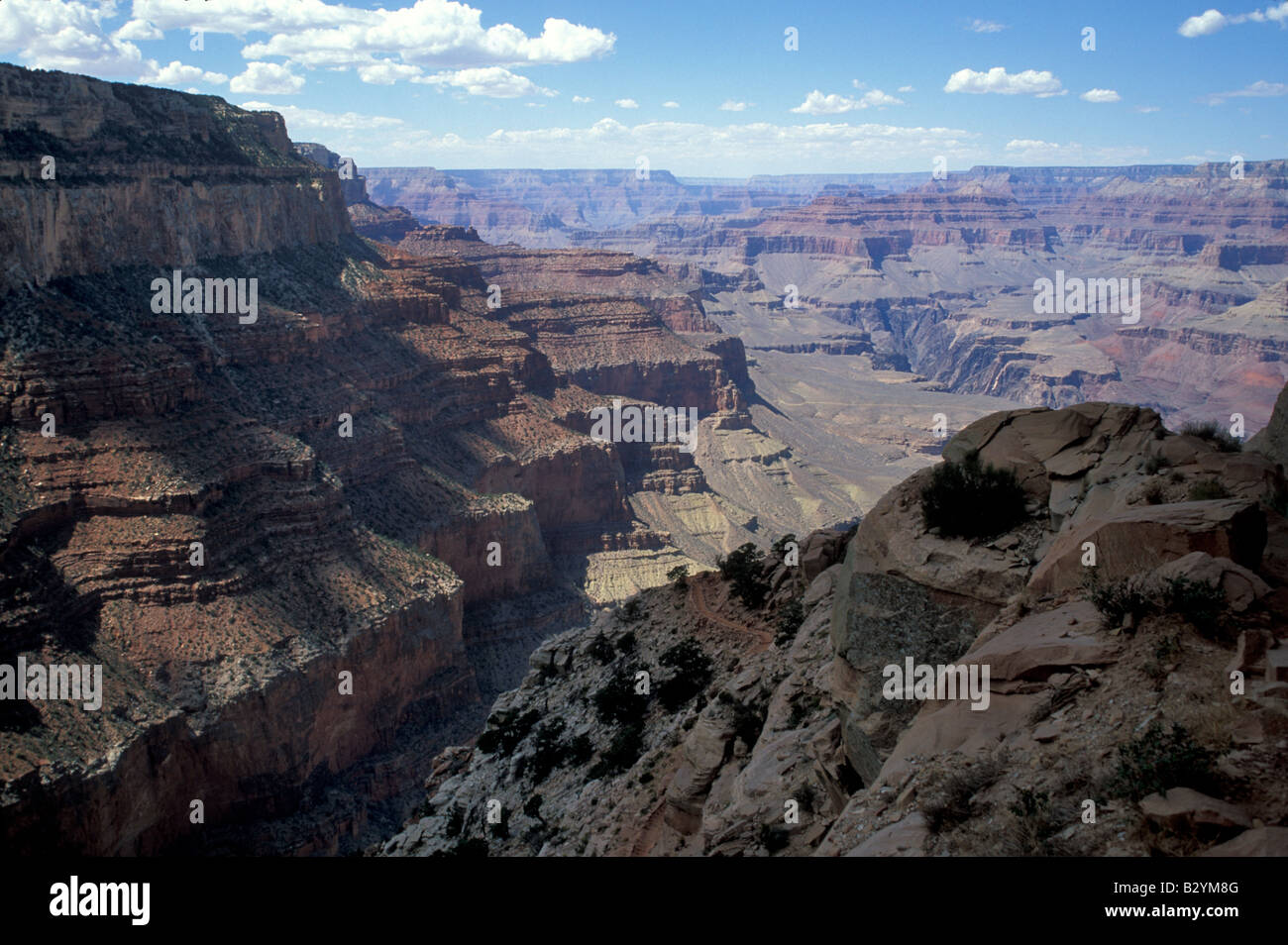 View from the South Kaibab Trail in the Grand Canyon at Grand Canyon National Park Arizona USA September 2004 - Stock Image