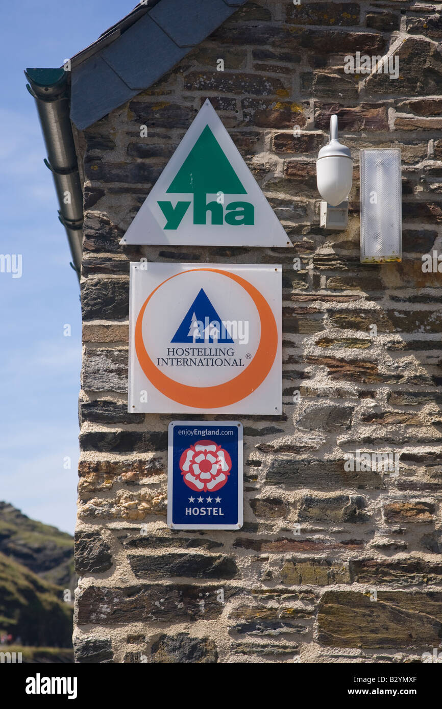 Youth Hostel signs Boscastle Cornwall - Stock Image