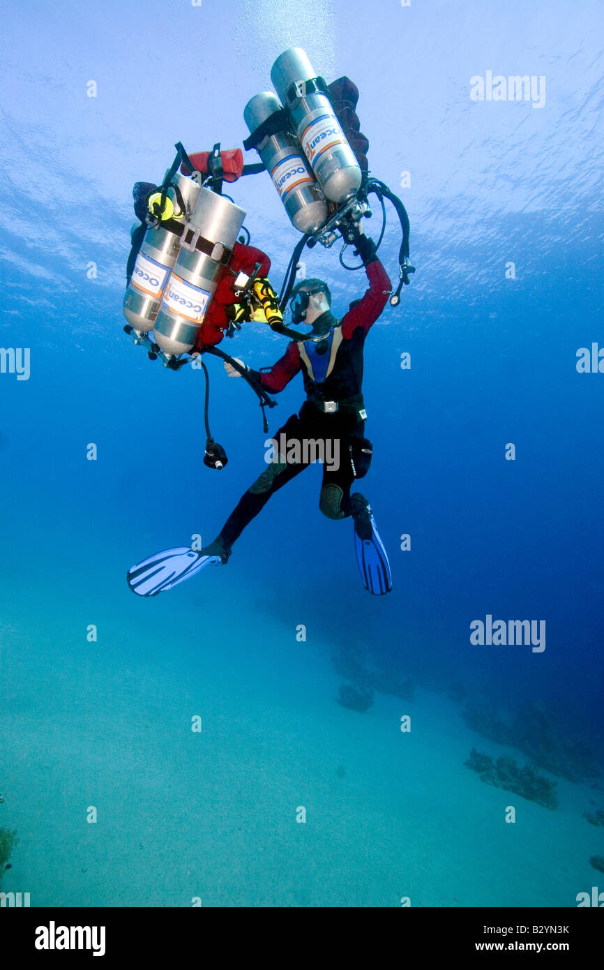 Diver John Kean practices his buoyancy in Ras Mohammed National park near Sharm el Sheikh, Egypt. picture by Adam - Stock Image