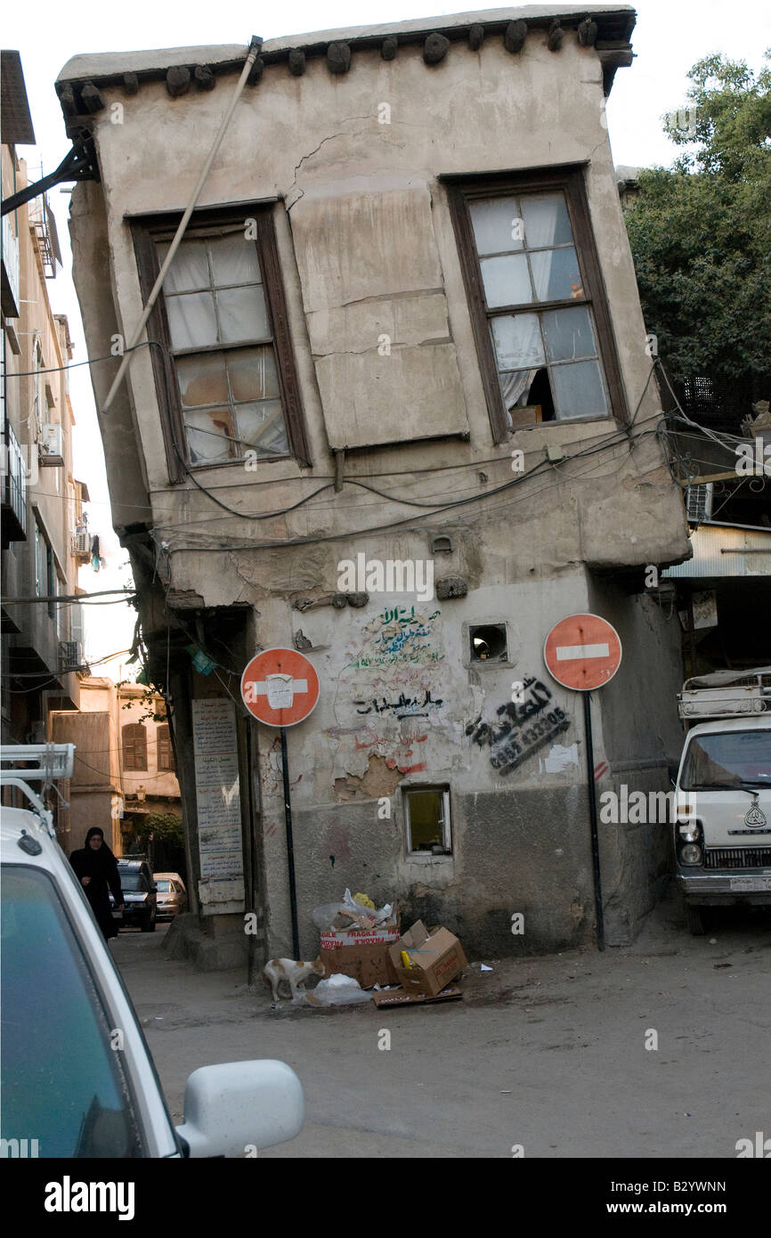 Syria. Unbelievable tilt of an old house in downtown Damascus. Home still inhabited Stock Photo