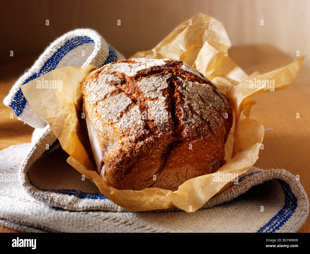 Loaf of organic bread - artisan Deli Rye - Stock Image