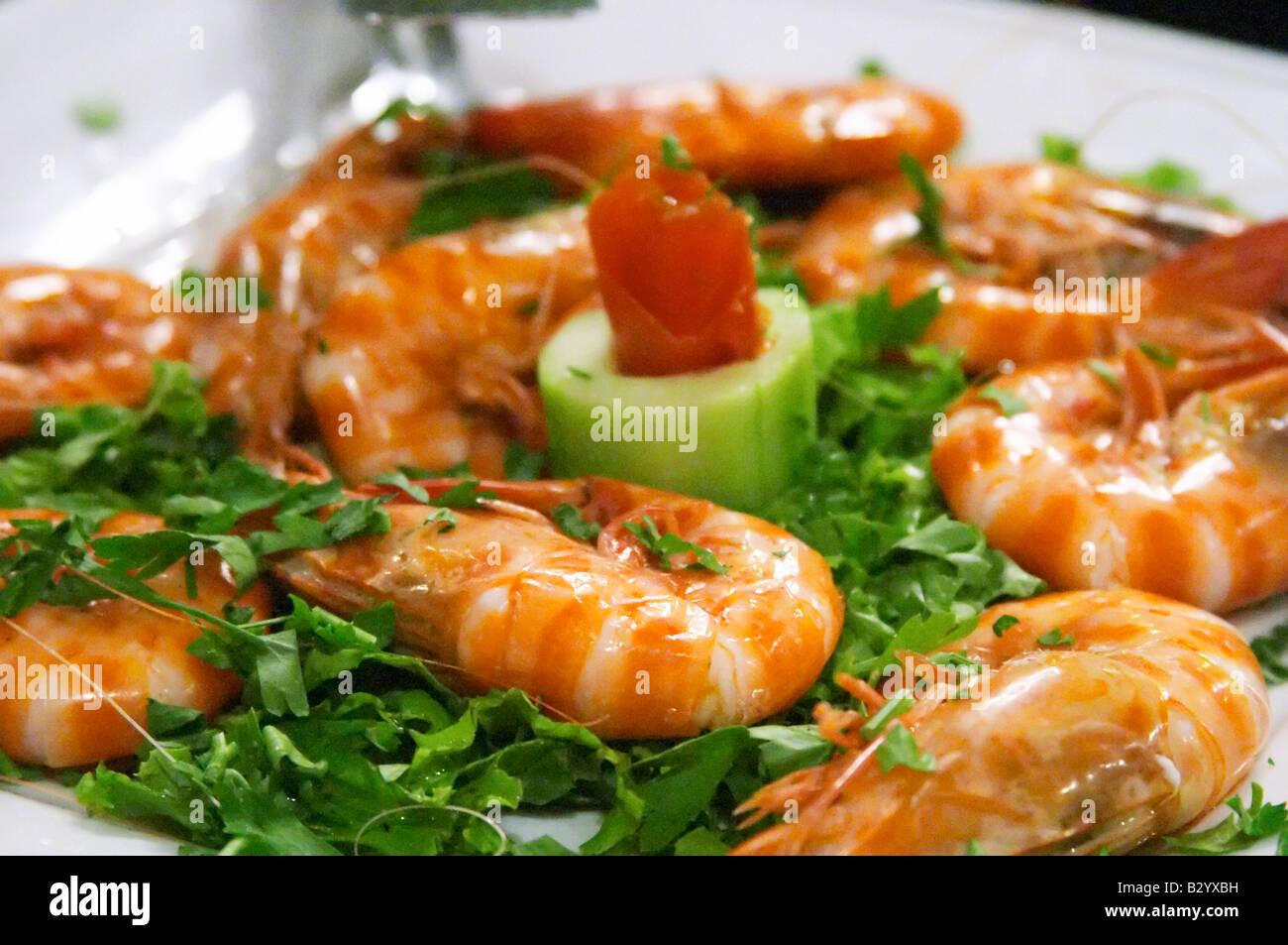 Shrimps. Restaurant Berdema Ton Gefseon. Drama, Macedonia, Greece - Stock Image