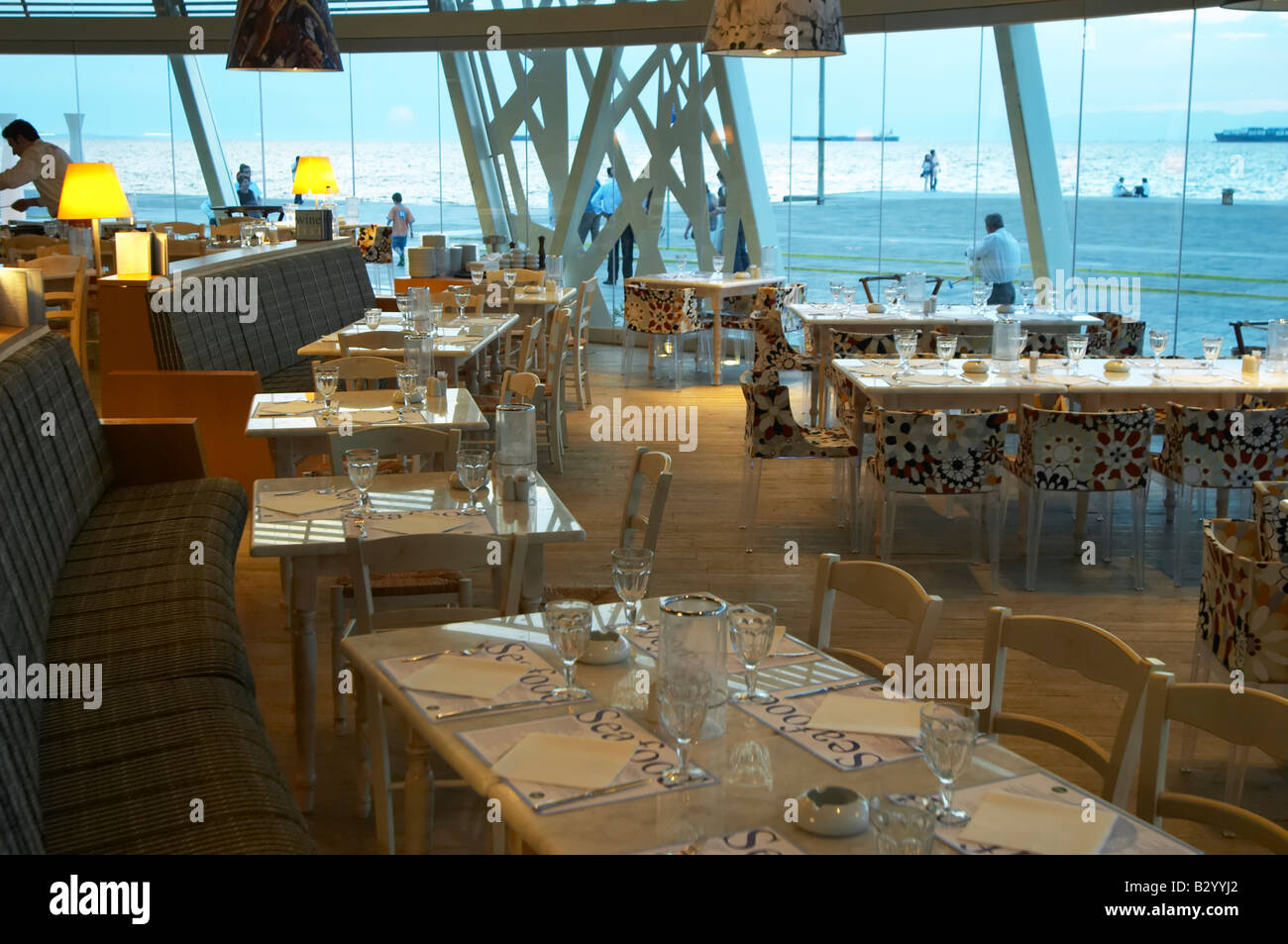 Seafood restaurant at Macedonia Palace Hotel. Thessaloniki, Macedonia, Greece - Stock Image