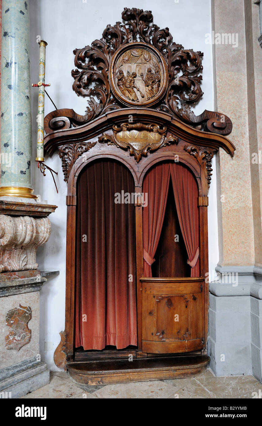 Confession box in the Klosterkirche Church in Fussen Bavaria Germany - Stock Image